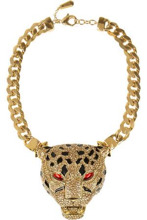 施华洛世奇水晶豹头镀金项链
