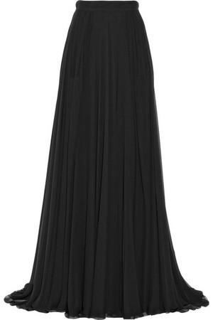 褶裥真丝雪纺超长半身裙