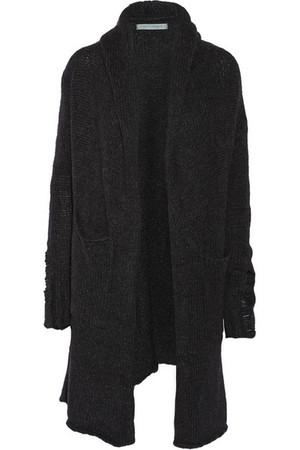 羊驼毛混纺连帽开襟衫