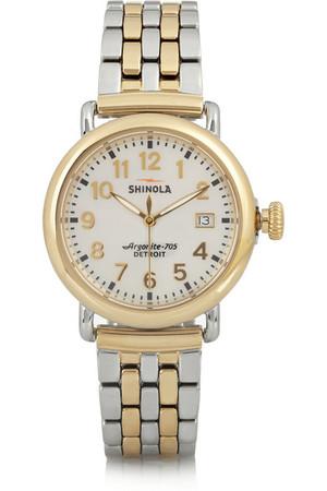Runwell 镀金和本色不锈钢手表