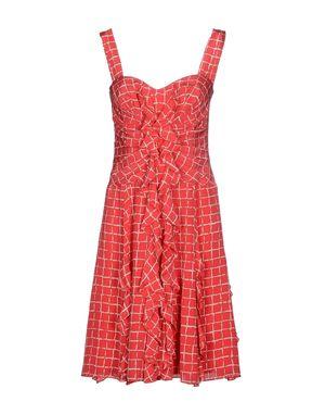 珊瑚红 OSCAR DE LA RENTA 及膝连衣裙