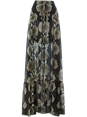 ROBERTO CAVALLI snakeskin print maxi skirt