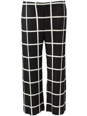 ISSEY MIYAKE grid print pleated trousers