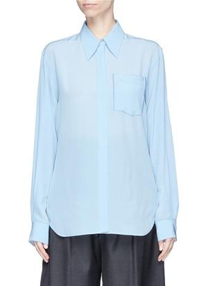珍珠母贝钮扣真丝绉绸衬衫