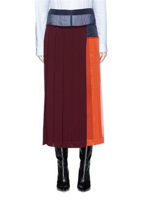 透视网纱拼接百褶半身裙