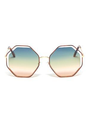 POPPY金属几何框镂空渐变太阳眼镜