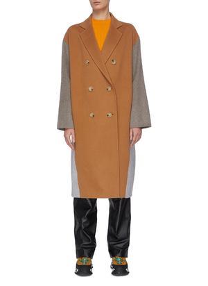 落肩袖双排扣拼色羊毛大衣