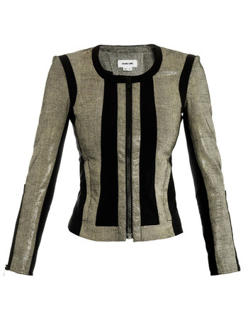 Reptile effect leather jacket