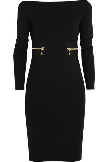 带拉链弹力绉纱针织连衣裙
