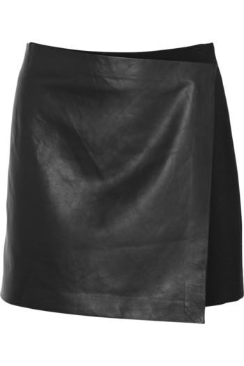 Stilla 皮革和弹力针织裹身迷你半身裙