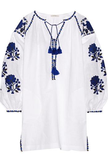 刺绣亚麻连衣裙