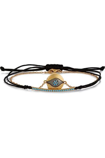 Bara and Evil Eye 10K 黄金方晶锆石镀金手链(两件套)