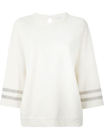 BRUNELLO CUCINELLI bead striped cuff sweatshirt