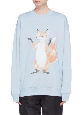 狐狸印花OVERSIZE纯棉卫衣