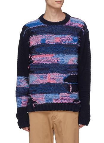 抽象拼色条纹混棉针织衫