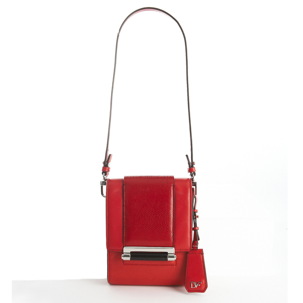 von furstenberg(黛安·冯芙丝汀宝)红色方块包,金属珐琅锁扣