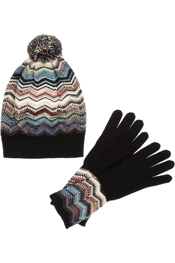 羊毛混纺套头帽与手套套装