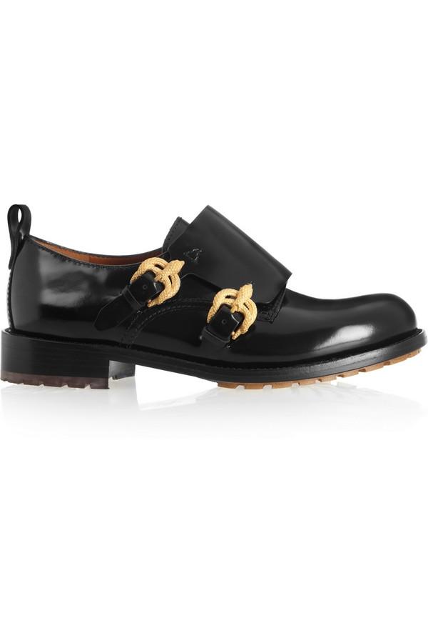 双僧侣扣皮革乐福鞋