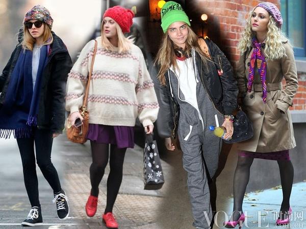 温暖毛线帽 街拍明星保暖有型穿搭术