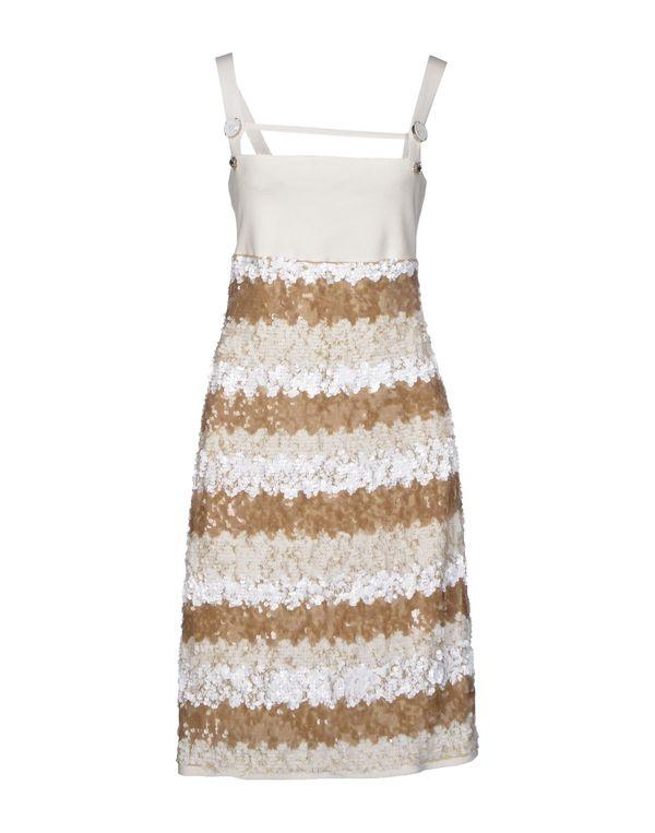 白色 PAOLA FRANI 及膝连衣裙