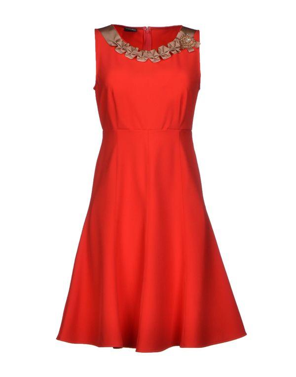 红色 PF PAOLA FRANI 及膝连衣裙