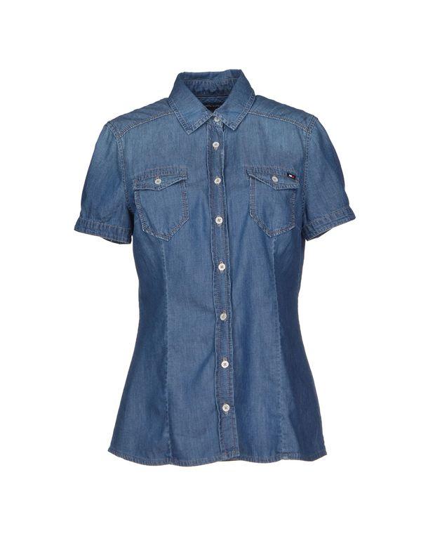 蓝色 TOMMY HILFIGER 牛仔衬衫