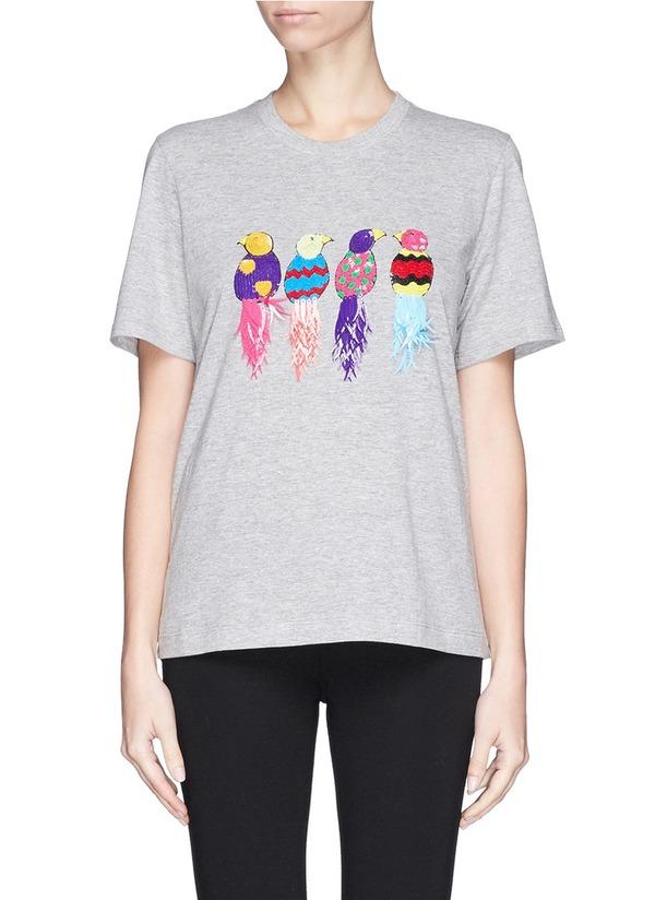 珠片森林鸟混棉T恤