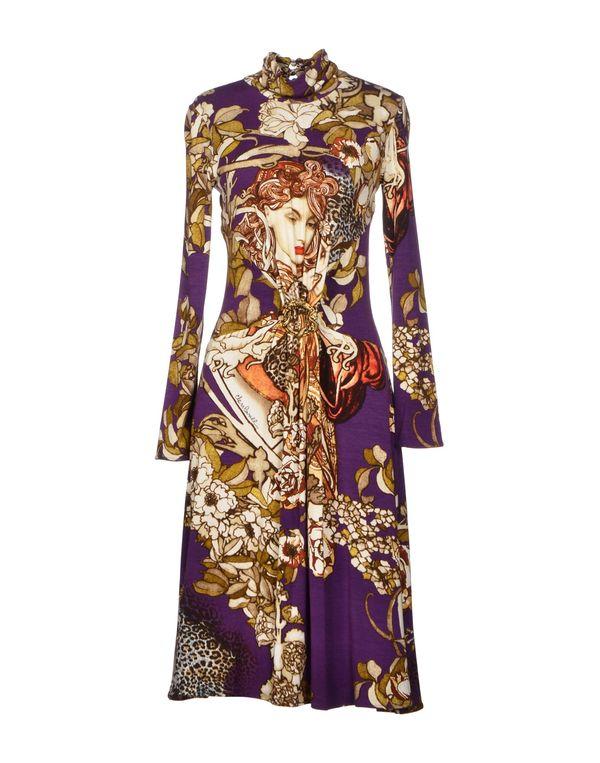 紫色 CLASS ROBERTO CAVALLI 及膝连衣裙
