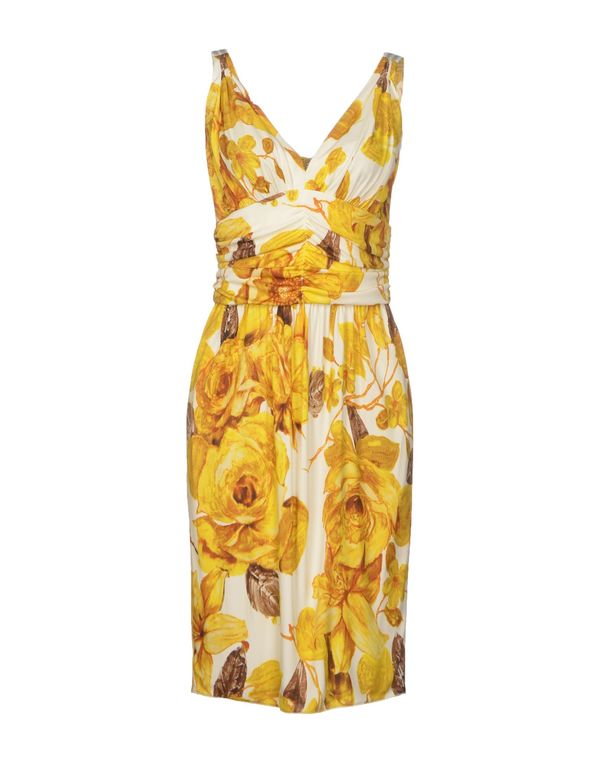 黄色 DOLCE & GABBANA 及膝连衣裙