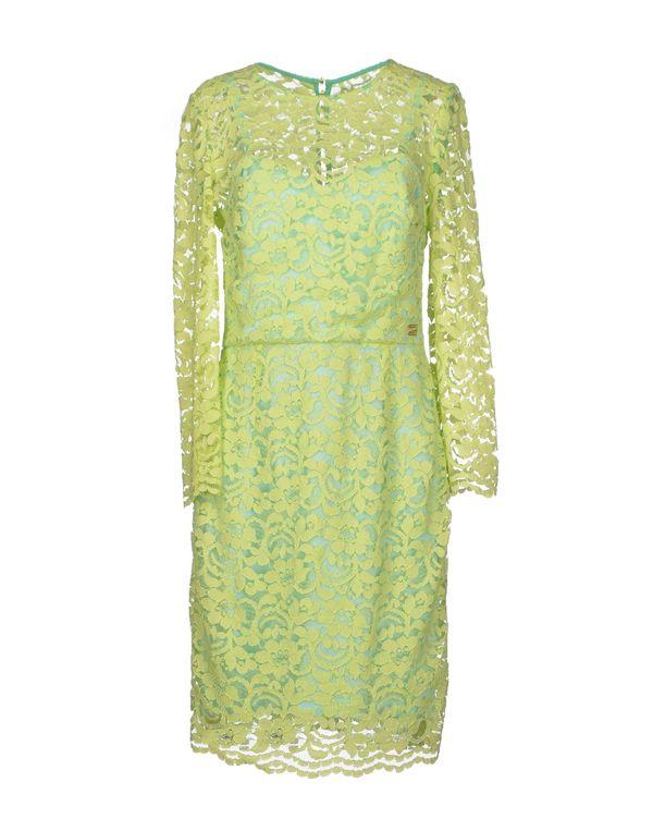 荧光绿 CLASS ROBERTO CAVALLI 及膝连衣裙