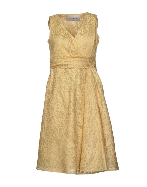 浅黄色 VALENTINO 及膝连衣裙