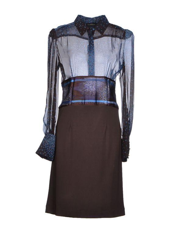 深棕色 CLASS ROBERTO CAVALLI 及膝连衣裙