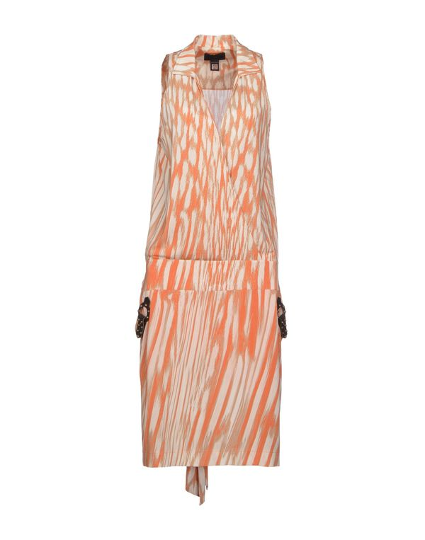 橙色 CLASS ROBERTO CAVALLI 及膝连衣裙