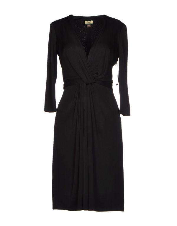 黑色 ISSA 及膝连衣裙