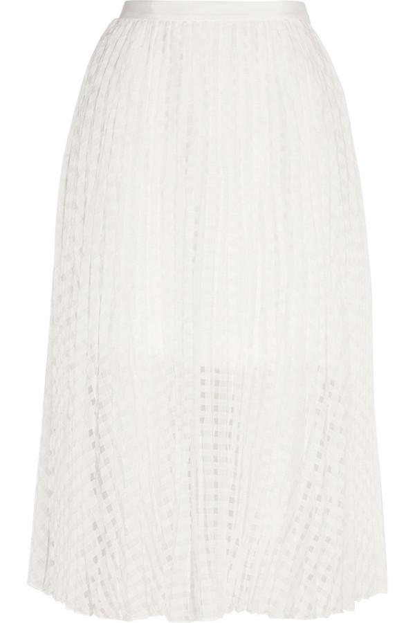 Sunray 褶裥格纹提花半身裙