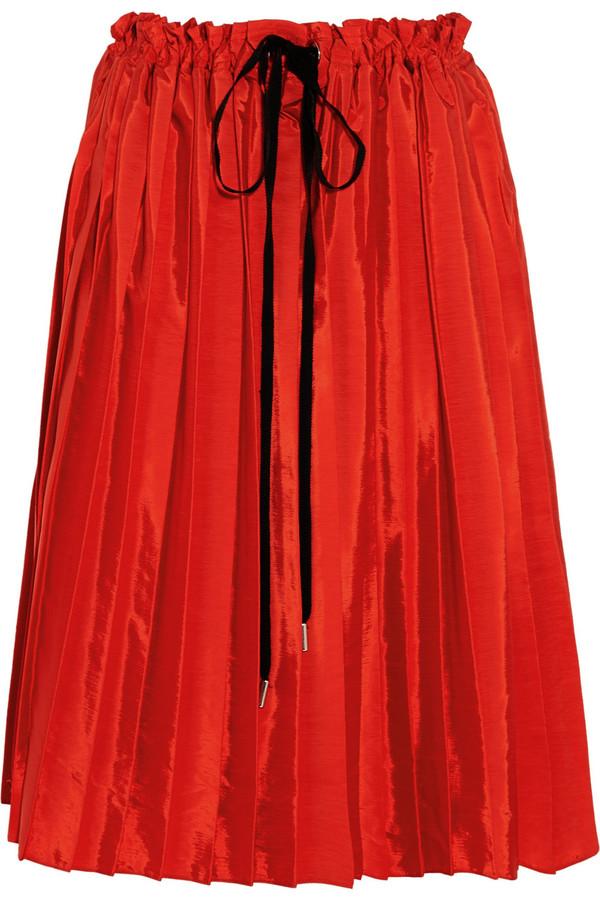 褶裥塔夫绸半身裙