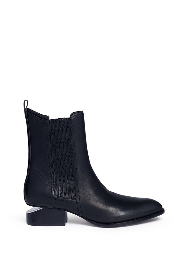ANOUCK缺口鞋跟真皮短靴