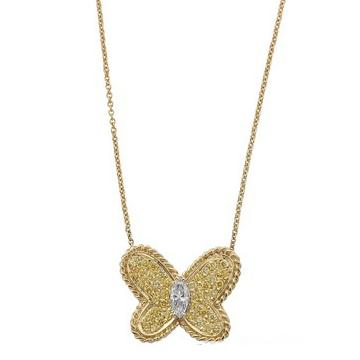 """Graff""""蝴蝶""""系列黄金圆形黄钻石配马眼形白色钻石吊坠项链"""