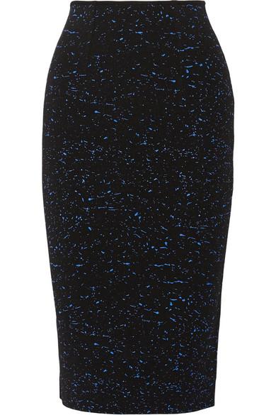 泼漆效果针织中长半身裙