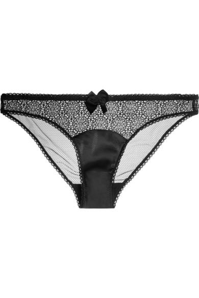 Clementina Twinkling 钩编蕾丝、弹力真丝和网布三角裤