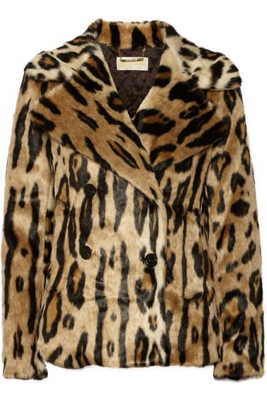 豹纹人造皮草外套