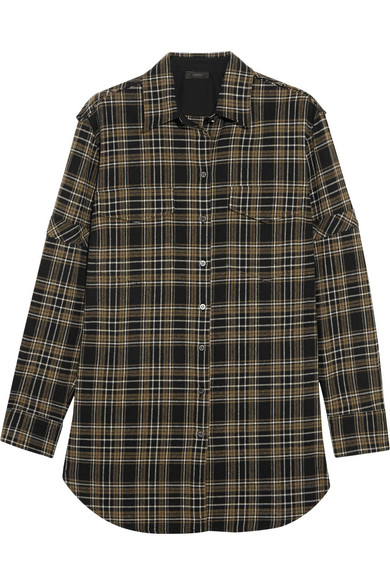 Olivia 方格棉质混纺衬衫