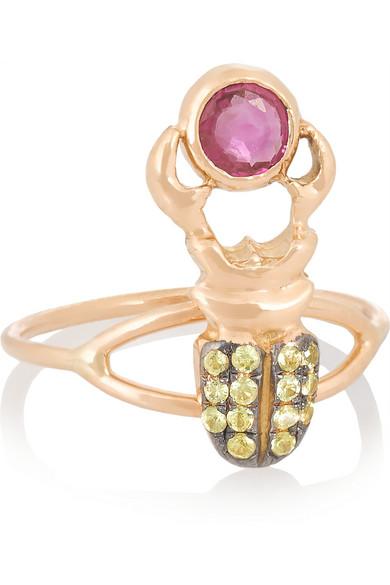 Khepri 18K 玫瑰金蓝宝石指节戒指