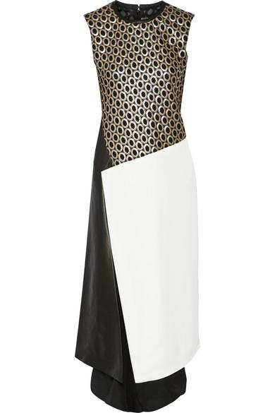 拼接孔眼蕾丝、斜纹布和皮革连衣裙