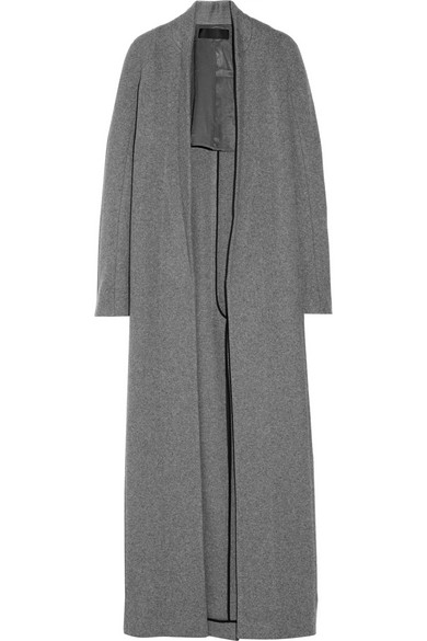 羊毛混纺开襟大衣
