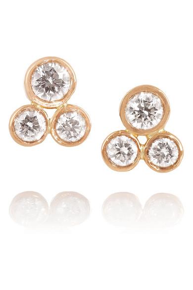 18K 玫瑰金钻石耳钉