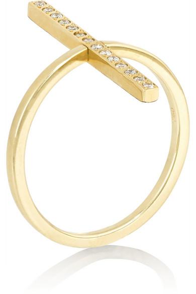 18K 黄金钻石双面戒指