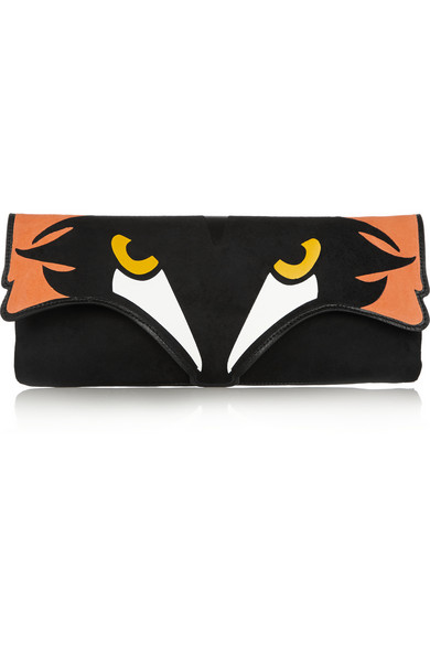 狐狸头图案绒面革和皮革两用手拿包