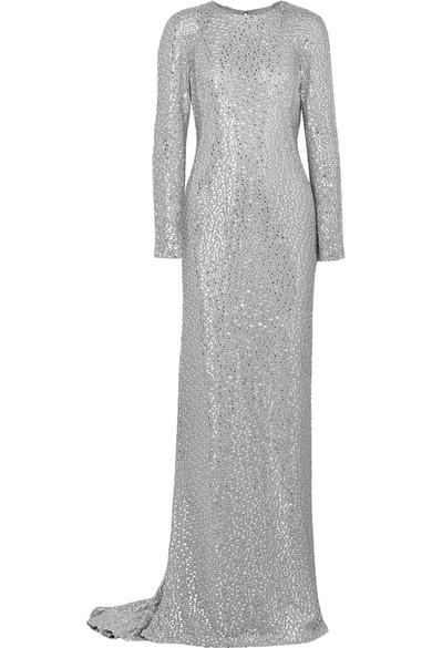 水晶缀饰丝缎礼服