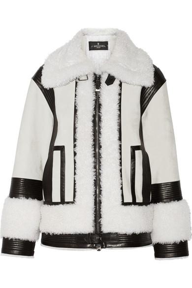 拼接羊毛皮和皮革外套